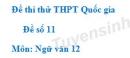 Đề số 11 - Đề thi thử THPT Quốc gia môn Ngữ văn