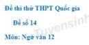 Đề số 14 - Đề thi thử THPT Quốc gia môn Ngữ văn