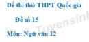 Đề số 15 - Đề thi thử THPT Quốc gia môn Ngữ văn
