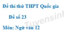 Đề 23 - Đề thi thử THPT Quốc gia môn Ngữ văn