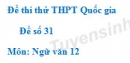 Đề số 31 - Đề thi thử THPT Quốc gia môn Ngữ văn