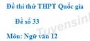 Đề số 33 - Đề thi thử THPT Quốc gia môn Ngữ văn