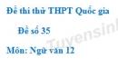Đề số 35 - Đề thi thử THPT Quốc gia môn Ngữ văn