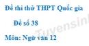 Đề số 38 - Đề thi thử THPT Quốc gia môn Ngữ văn