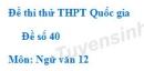 Đề số 40 - Đề thi thử THPT Quốc gia môn Ngữ văn