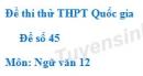 Đề số 45 - Đề thi thử THPT Quốc gia môn Ngữ văn