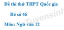 Đề số 46 - Đề thi thử THPT Quốc gia môn Ngữ văn