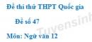 Đề số 47 - Đề thi thử THPT Quốc gia môn Ngữ văn