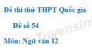 Đề số 54 - Đề thi thử THPT Quốc gia môn Ngữ văn