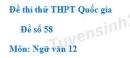Đề số 58 - Đề thi thử THPT Quốc gia môn Ngữ văn