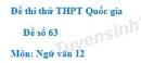 Đề số 63 - Đề thi thử THPT Quốc gia môn Ngữ văn