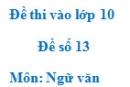 Đề số 13 - Đề thi vào lớp 10 môn Ngữ văn