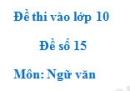 Đề số 15 - Đề thi vào lớp 10 môn Ngữ văn