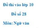 Đề số 28 - Đề thi vào lớp 10 môn Ngữ văn