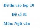 Đề số 31 - Đề thi vào lớp 10 môn Ngữ văn