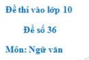 Đề số 36 - Đề thi vào lớp 10 môn Ngữ văn