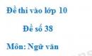 Đề số 38 - Đề thi vào lớp 10 môn Ngữ văn