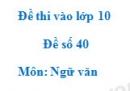 Đề số 40 - Đề thi vào lớp 10 môn Ngữ văn