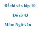Đề số 43 - Đề thi vào lớp 10 môn Ngữ văn