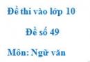 Đề số 49 - Đề thi vào lớp 10 môn Ngữ văn
