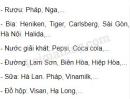 Em hãy kể tên các mặt hàng của ngành công nghiệp thực phẩm đang tiêu thụ trên thị trường Việt Nam?