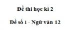 Đề số 1 - Đề kiểm tra học kì 2 - Ngữ văn 12