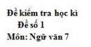 Đề số 1 - Đề thi học kì 2 - Ngữ văn 7