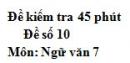 Đề số 10 - Đề kiểm tra 45 phút (1 tiết) - Học kì 1 - Ngữ văn 7