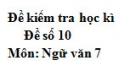 Đề số 10 - Đề thi học kì 2 - Ngữ văn 7