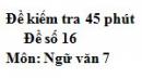 Đề số 16 - Đề kiểm tra 45 phút (1 tiết) - Học kì 2 - Ngữ văn 7