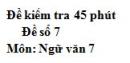 Đề số 7 - Đề kiểm tra 45 phút (1 tiết) - Học kì 1 - Ngữ văn 7