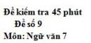 Đề số 9 - Đề kiểm tra 45 phút (1 tiết) - Học kì 1 - Ngữ văn 7