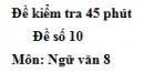 Đề số 10 - Đề kiểm tra 45 phút (1 tiết) - Học kì 1 - Ngữ văn 8