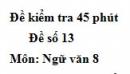 Đề số 13 - Đề kiểm tra 45 phút (1 tiết) - Học kì 1 - Ngữ văn 8