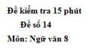 Đề số 14 - Đề kiểm tra 15 phút - Học kì 1 - Ngữ văn 8