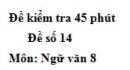 Đề số 14 - Đề kiểm tra 45 phút (1 tiết) - Học kì 2 - Ngữ văn 8
