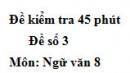 Đề số 3 - Đề kiểm tra 45 phút (1 tiết) - Học kì 1 - Ngữ văn 8