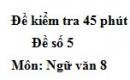Đề số 5 - Đề kiểm tra 45 phút (1 tiết) - Học kì 1 - Ngữ văn 8