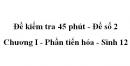 Đề kiểm tra 45 phút (1 tiết) - Đề số 2 - Chương I - Phần tiến hóa - Sinh 12