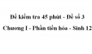 Đề kiểm tra 45 phút (1 tiết) - Đề số 3 - Chương I - Phần tiến hóa - Sinh 12