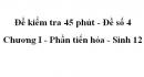 Đề kiểm tra 45 phút (1 tiết) - Đề số 4 - Chương I - Phần tiến hóa - Sinh 12