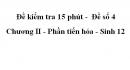 Đề kiểm tra 15 phút -  Đề số 4 - Chương II - Phần tiến hóa - Sinh 12