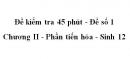 Đề kiểm tra 45 phút (1 tiết) - Đề số 1 - Chương II - Phần tiến hóa - Sinh 12