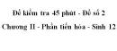 Đề kiểm tra 45 phút (1 tiết) - Đề số 2 - Chương II - Phần tiến hóa - Sinh 12