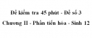 Đề kiểm tra 45 phút (1 tiết) - Đề số 3 - Chương II - Phần tiến hóa - Sinh 12