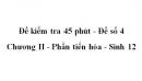 Đề kiểm tra 45 phút (1 tiết) - Đề số 4 - Chương II - Phần tiến hóa - Sinh 12