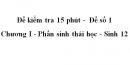 Đề kiểm tra 15 phút -  Đề số 1 - Chương I - Phần sinh thái học - Sinh 12