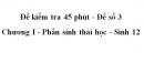 Đề kiểm tra 45 phút (1 tiết) - Đề số 3 - Chương I - Phần sinh thái học - Sinh 12