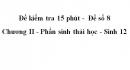 Đề kiểm tra 15 phút -  Đề số 8 - Chương II - Phần sinh thái học - Sinh 12