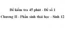 Đề kiểm tra 45 phút (1 tiết) - Đề số 1 - Chương II - Phần sinh thái học - Sinh 12